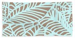 Abstract Leaves Warm Taupe Aqua Beach Towel