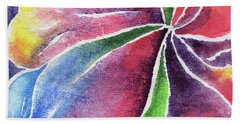 Abstract Lily And Orchid Watercolor Flowers Beach Towel