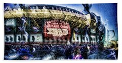 abstract look at the crowd filing in for a Cub's game Beach Sheet