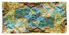Abstract Nature Tropical Beach Rock Blue Yellow And Orange Macro Photo 472 Beach Towel
