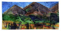 Abstract Of Sky Trees And Mountains Beach Towel by R Kyllo