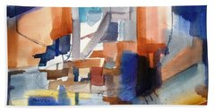 Abstract- Peggy's Cove Beach Towel by Larry Hamilton