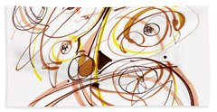 Abstract Pen Drawing Five Beach Towel by Lynne Taetzsch