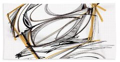 Abstract Pen Drawing Four Beach Towel by Lynne Taetzsch