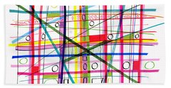 Abstract Pen Drawing One Beach Towel by Lynne Taetzsch