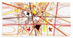 Abstract Pen Drawing Three Beach Towel by Lynne Taetzsch