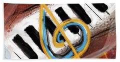 Abstract Piano Concert Beach Towel