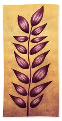 Abstract Plant With Pointy Leaves In Purple And Yellow Beach Towel