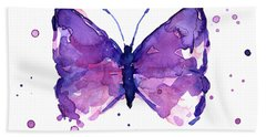 Abstract Purple Butterfly Watercolor Beach Towel