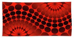 Abstract Red And Black Ornament Beach Towel