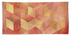 Abstract Red And Gold Geometric Cubes Beach Towel