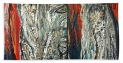 Abstract Red And Silver Latte Stones Beach Towel