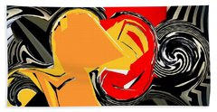 Abstract Red And Yellow Beach Towel