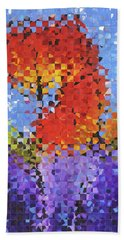 Beach Towel featuring the painting Abstract Red Flowers - Pieces 5 - Sharon Cummings by Sharon Cummings
