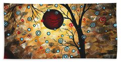 Abstract Red Moon Landscape Tree Art Terms Of Endearment By Megan Duncanson Beach Towel