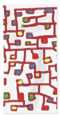 Abstract Scattered Nodes Beach Towel