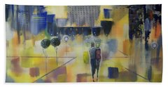 Beach Towel featuring the painting Abstract Stroll by Raymond Doward