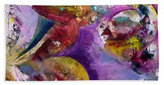 Beach Towel featuring the painting Abstract Sun, Moon And Stars Collide by Gray Artus