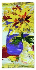Abstract Sunflower Beach Towel by Lynda Cookson