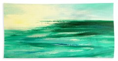 Abstract Sunset In Blue And Green Beach Towel