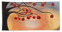 Beach Sheet featuring the painting Abstract Sunset by Jolanta Anna Karolska