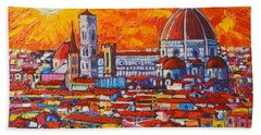 Abstract Sunset Over Duomo In Florence Italy Beach Sheet by Ana Maria Edulescu