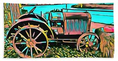Beach Towel featuring the digital art Abstract Tractor Los Olivos California by Floyd Snyder