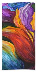 Abstract Vibrant Flowers Beach Towel