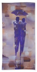 Beach Sheet featuring the painting Abstract Walk In The Rain by Raymond Doward