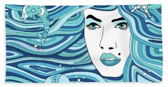 Abstract Water Element Beach Towel by Serena King