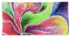 Abstract Watercolor Flower Lily And Orchid Beach Towel