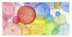 Abstract Watercolor Rainbow Circles Beach Towel