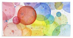 Abstract Watercolor Rainbow Circles Beach Towel