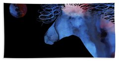 Abstract Wild Horse And Full Moon Beach Towel