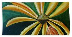 Abstract Yellow Sunflower Art Floral Painting Beach Sheet