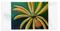 Abstract Yellow Sunflower Art Floral Painting Beach Towel