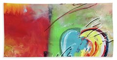 Abstract With Heart Beach Towel