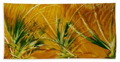 Abstract Yellow, Green Fields   Beach Towel
