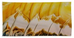Abstract Yellow, White Waves And Sails Beach Towel