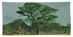 Beach Towel featuring the digital art Acacia Tree And Termite Hills by Ernie Echols