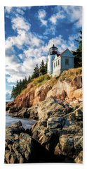 Beach Towel featuring the painting Acadia Bass Harbor Lighthouse by Christopher Arndt