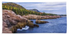 Beach Towel featuring the photograph Acadia's Coast by Chad Dutson