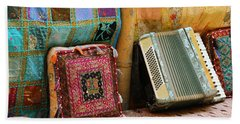 Accordion  With Colorful Pillows Beach Towel