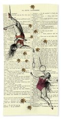 Acrobatics Women Circusact Vintage Illustration On Book Page Beach Towel
