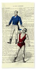Circus Acrobats In Red And Blue Dictionary Art Print Beach Towel