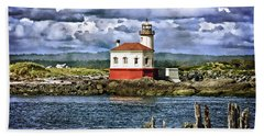 Across From The Coquille River Lighthouse Beach Sheet by Thom Zehrfeld