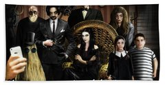 Addams Halloween Greeting Card Beach Towel