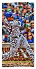 Addison Russell Chicago Cubs Beach Towel