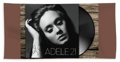 Adele 21 Art With Autograph Beach Towel by Kjc