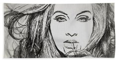 Adele Charcoal Sketch Beach Towel